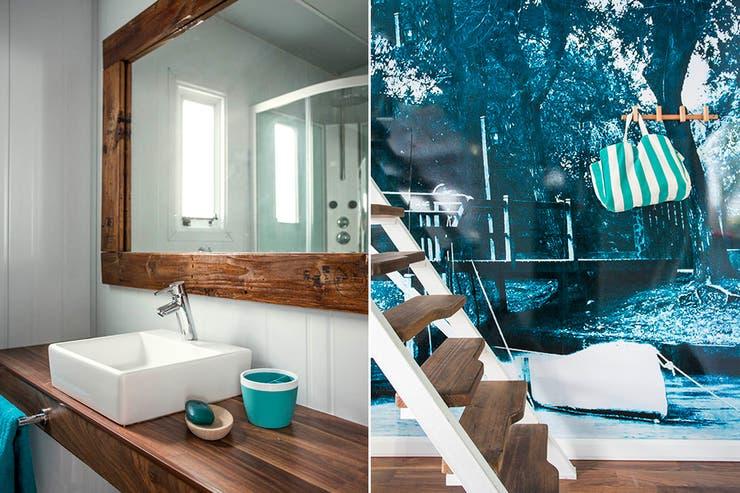 Similar, pero no igual al resto de los baños, el de Gabriel tiene un espejo rectangular enmarcado en madera y bacha de apoyo cuadrada