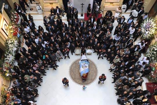 Vista del salón donde se velaron los restos del ex Presidente. Foto: Presidencia de La Nación