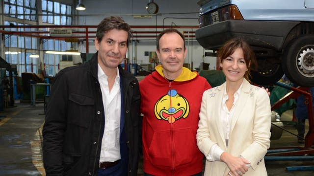 El Ministro de Modernización, Innovación y Tecnología de la Ciudad, Andy Freire, Peter Vesterbacka y Soledad Acuña, Ministra de Educación de la Ciudad