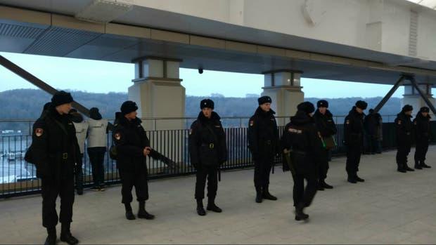 Los efectivos de seguridad en el Luzhniki