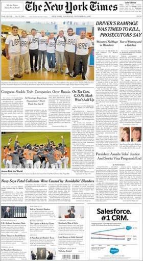 The New York Times - Publicó en su tapa la foto del grupo de amigos rosarinos antes de emprender el viaje a Estados Unidos