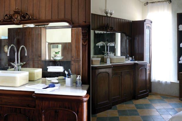 Sanitarios Baño Antiguos:El gran mueble de madera trabajada es una pieza única y especial en