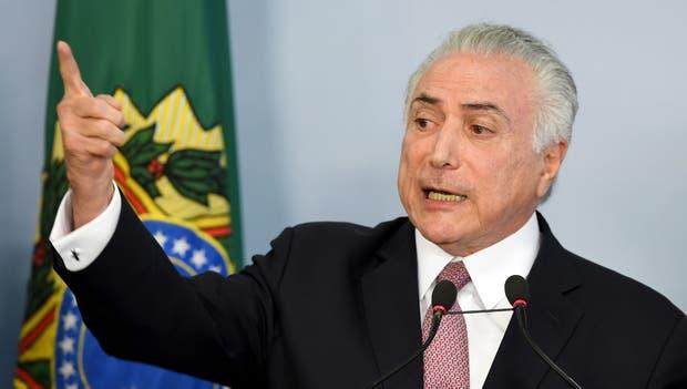 Michel Temer, durante su discurso en el Palacio del Planalto