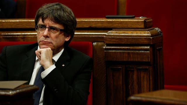 El líder catalán Carles Puigdemont, durante la sesión del Parlamento de Cataluña