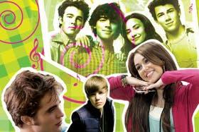Los Jonas Brothers con Demi Lovato. Abajo, el vampiro Robert Pattinson, la revelación pop Justin Bieber y Miley Cyrus como Hannah Montana
