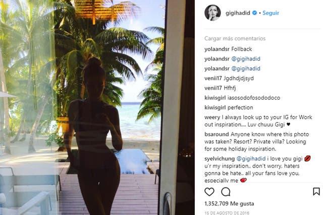 La imagen con la que comenzaron los debates de Instagram; En 2016, la modelo posteo su reflejo en la ventana de un hotel y recibió comentarios por su delgadez que respondió abriendo el debate