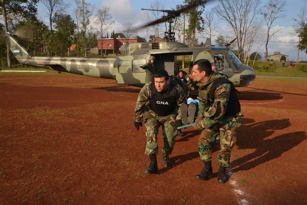 Helicópteros del Ejército apoyaron a la Gendarmería en el operativo, el mes pasado, en la frontera de Misiones