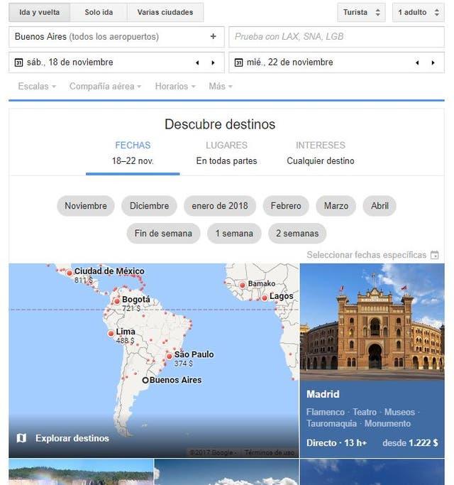 Una captura de cómo se ve Google Flights cuando se ingresa una búsqueda por primera vez