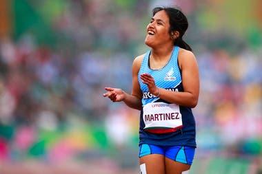 Yanina Martínez celebra tras ganar la competencia de los 100 metros en los Parapanamericanos de Lima 2019