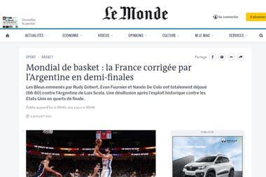 La portada de Le Monde, de Francia