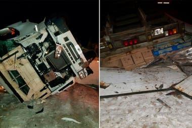 """Las imprudencias de """"Renolito"""" culminaron con el camión volcado a la vera de la ruta, a 90 kilómetros de Río Gallegos"""