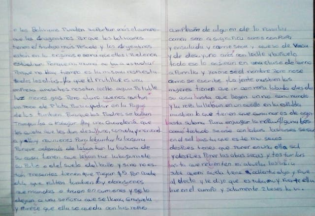Las primeras hojas del examen de la alumna