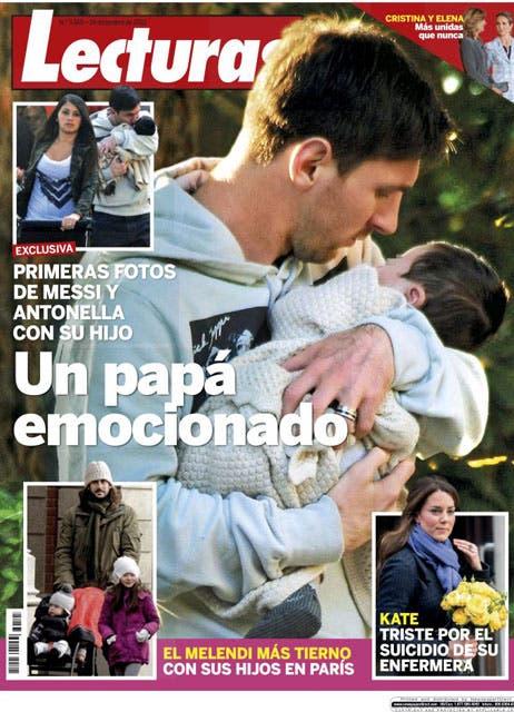 El crack argentino, junto con su esposa Antonella y su hijo Thiago.  /Revista Lecturas