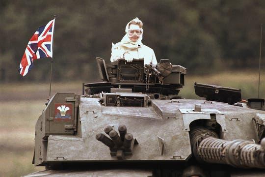 Durante una visita a las fuerzas británicas en Fallingbostel, a 120 kilometros de Hamburgo, Alemania, septiembre de 1986. Foto: Archivo