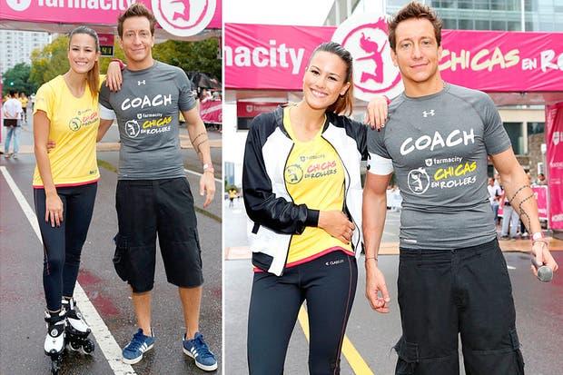 Loos deportivos para Luli Fernández y Nico Vázquez, que estuvieron en la maratón de Farmacity ´Chicas en Rollers´. Foto: Personally