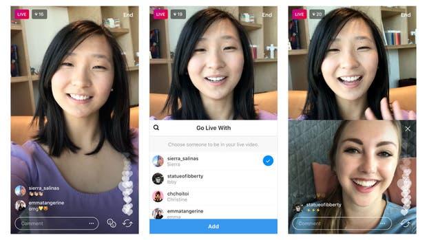 Así se ve la nueva función de Instagram Live compartido entre dos usuarios de la aplicación durante una transmisión en vivo