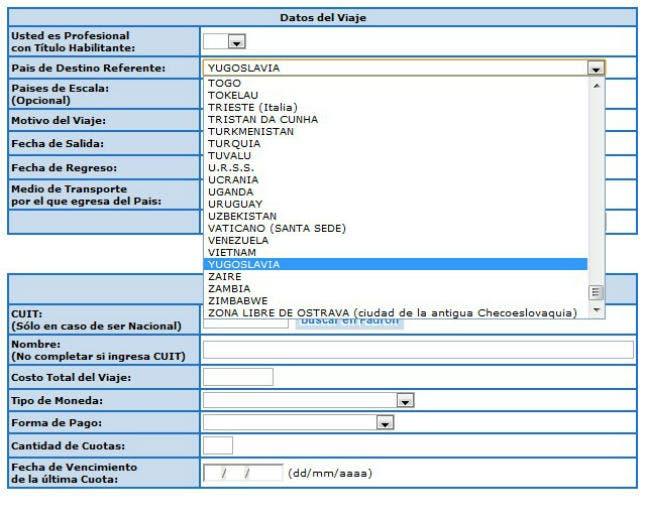Captura de pantalla del formulario de la AFIP para comprar divisas para viajar al exterior. Foto: lanacion.com