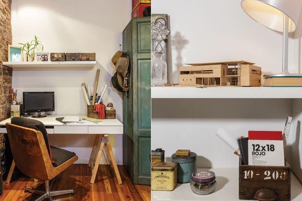 Escritorio laqueado hecho a medida con caballetes de madera y sillón vintage retapizado. El mueble verde fue rescatado de un galpón familiar, le pusieron laca transparente para preservar su color.  /Daniel Karp