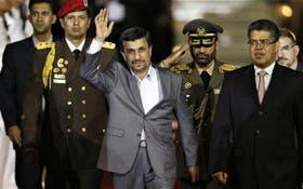 Ahmadinejad fue recibido ayer por el vicepresidente Elías Jaua con honores militares en el aeropuerto Maiquetía, de Caracas