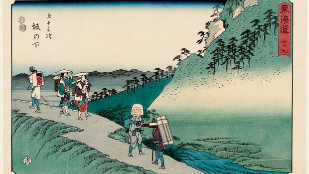 En el camino: una de las estampas creadas por Utagawa Hiroshige a mediados del siglo XIX, en los que retrató el Tokaido
