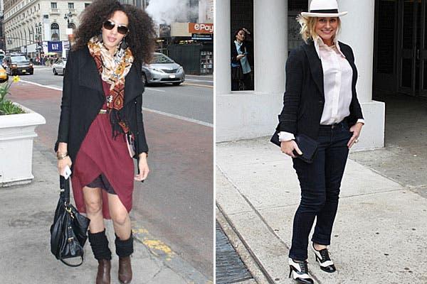 Un vestido bordó, polainas negras, botas, maxi bolso y saco negro. Para completar el look, pañuelo estampado y aros grandes. ¿Y qué te parecen los zapatos bicolor? Los acompaña con sombrero bombé y camisa rosa.