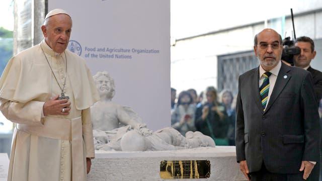 El Papa junto a Jose Graziano Da Silva, Director General de FAO