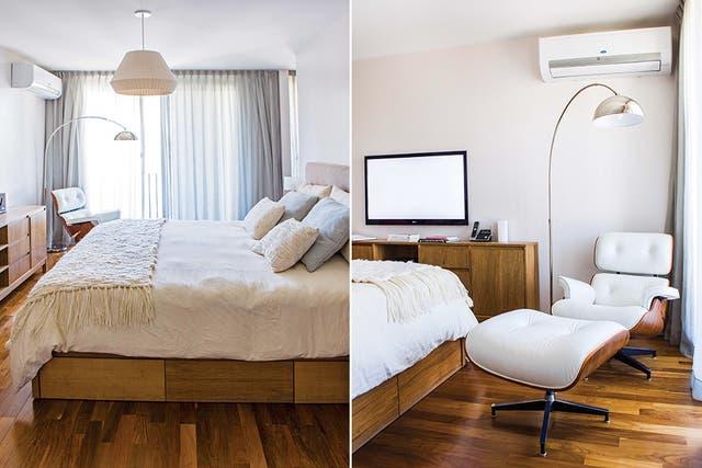 La pareja quería un cuarto más bien minimalista, con tonos neutros, entre los que se destaca el blanco de la poltrona Eames con apoyapiés