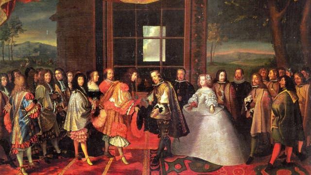 El encuentro entre Luis XIV y Felipe IV según Velázquez. Foto: Wikipedia