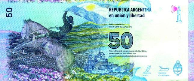 Reverso del nuevo billete de 50 pesos