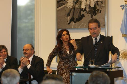 Cristina Kirchner antes de comenzar los anuncios. Foto: LA NACION / Alfredo Sánchez