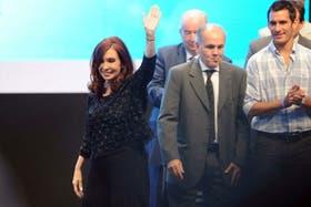 La presidenta Cristina Kirchner, desde Tecnópolis, donde encabezó el acto de hoy