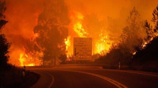 Casi 2 mil bomberos combaten incendio en Portugal