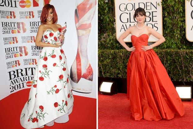Rihanna y Zooey Deschanel con vestidos vaporosos, al mejor estilo princesas sobre la red carpet. Foto: Pinterest yTumbrl