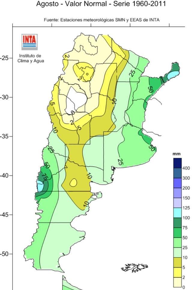 """Las lluvias """"normales"""" de agosto entre 1960 y 2011"""