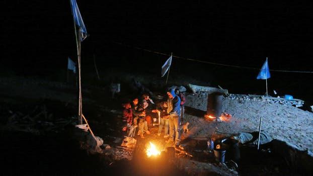 El acampe de la asamblea contra la minera Midais ubicado a orillas del Rio Blanco, en la localidad de Angulos. Foto: LA NACION / Diego Lima / Enviado Especial
