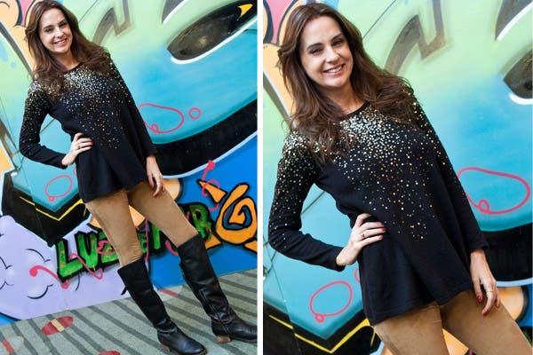 Florencia Ortiz estuvo en el desfile de Luz de Mar y lució unas leggings en color beige, remera con brillos y botas de caña alta. Foto: Ninch Comunicación