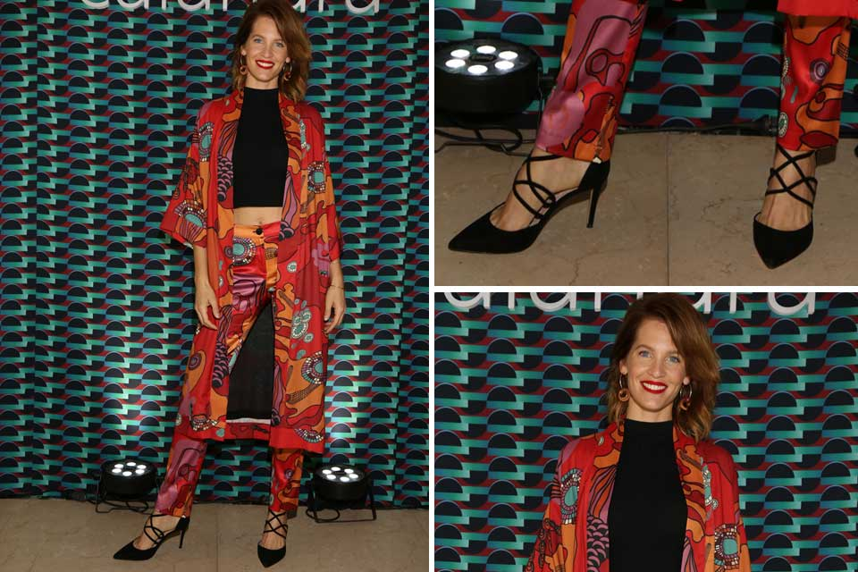 Liz Solari eligió un conjunto de Calandra de dos piezas estampado y crop top; ¿Qué opinás de este look? ¿Te gusta?.