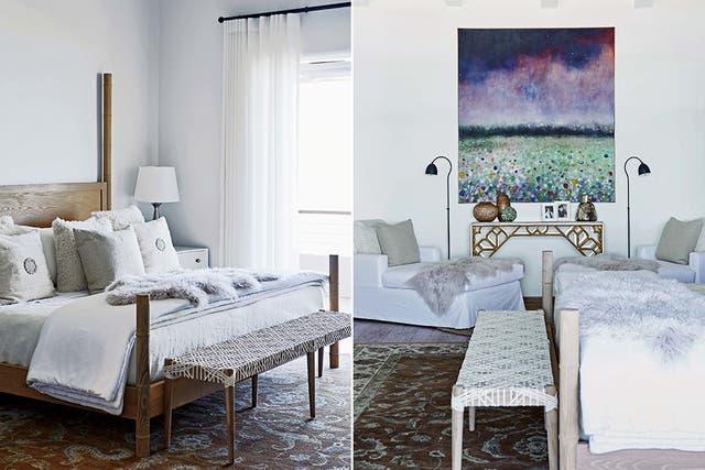 La cama, creada por Kim, se complementó con una banqueta con tientos de cuero tejidos a mano (Weylandts) y un cuadro de Alexia Vogel