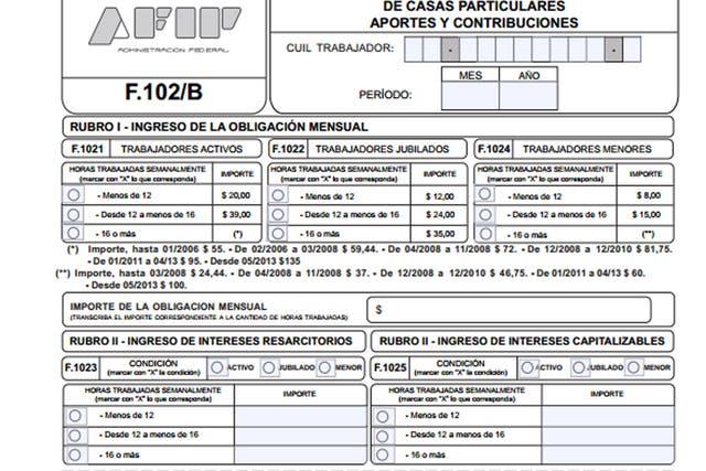 El encabezado del formulario para pagar al personal doméstico