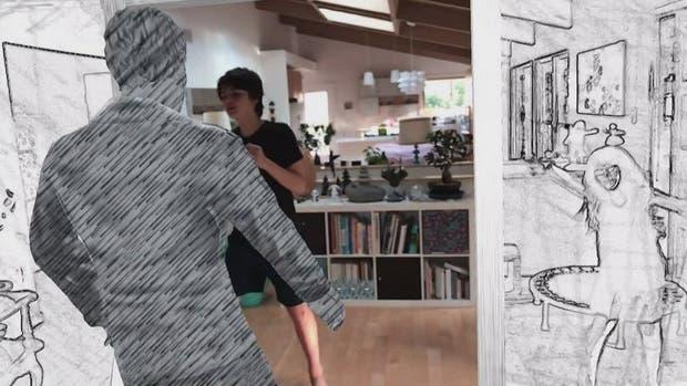 Una captura de la producción que emula el videoclip Take on me de A-Ha mediante la tecnología de realidad aumentada de Apple