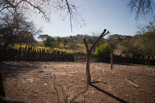 El polvoriento y desolado patio que alguna vez tuvo animales, hoy sólo la tierra seca queda. Foto: LA NACION / Rodrigo Néspolo/Enviado especial