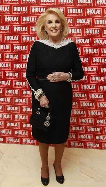 Mirtha Legrand eligió para la ocasión un vestido negro bordado con perlas. Foto: /Fabián Marelli