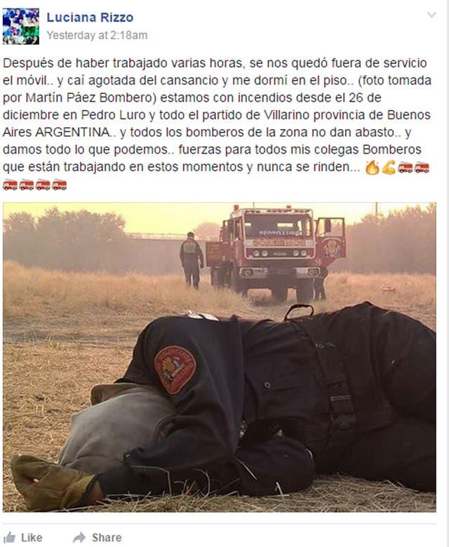El posteo que compartió Luciana Rizzo a la página Bomberos de Todo el Mundo
