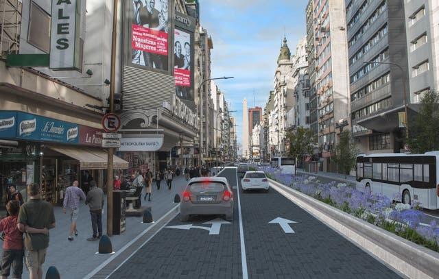 La Avenida Corrientes, de día