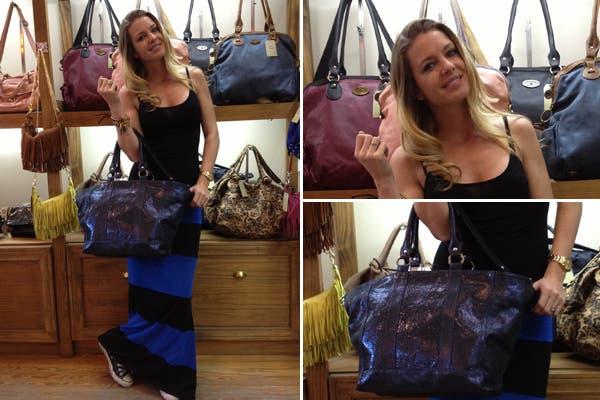 Súper canchera con su cartera, Geraldine Newmann en la tienda de Julieta Sedler. Foto: Gentileza Plan A