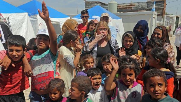 Malcorra visitó un campo de refugiados sirios en el Líbano esta semana
