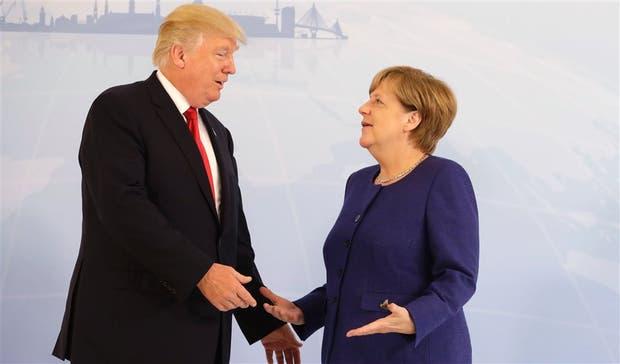 Donald Trump y Angela Merkel se vieron ayer en la víspera de la cumbre del G-20 en Hamburgo