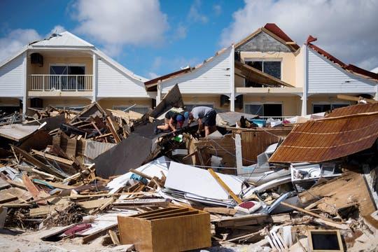 Las ruinas de un restaurant en una playa en Orient Bay, Saint Martin. Foto: AFP