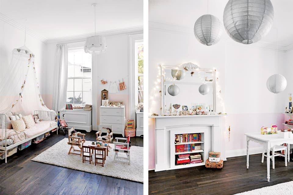 Contiguos, los cuartos de Blanche y Alice se ambientaron con el mismo estilo. En el primero: cama de hierro 'Minnen' y lámpara 'Lyrik' de algodón (Ikea). Sobre la alfombra (ABC Carpet & Home), juego de muebles infantiles (Au Nain Bleu, París) y muñeca (Bonpoint). La chimenea se convirtió en bibl.  /Foto: Gentileza Birgitta Wolfgang. Producción Matías Errázuriz