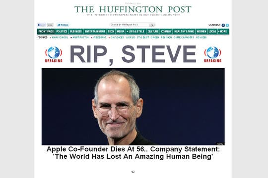 El portal de The huffington Post, de Estados Unidos.